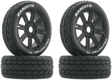 NEW Duratrax 1/8 Buggy Bandito C3 Mounted Tires / 8-Spoke Black Wheels (4) DT...