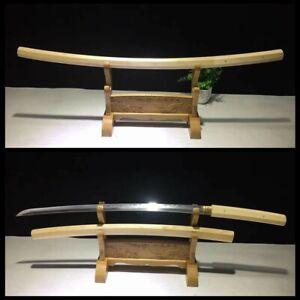 Full Tang Shirasaya Sword Katana Damascus Clay Tempered Real Hamon Sharp Blade