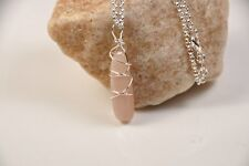 Moonstone Necklace Hawaii Peach Moonstone Hand Wire-Wrap Sterling Silver Chain