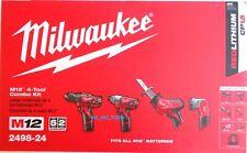 NEW Milwaukee M12 2498-24 4-Tool Combo Kit Drill, Impact, Hackzall Light 12 Volt