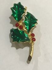 Estate Aai Signed Green Enamel Christmas Holly with Red Plastic Berry Cabs Pin