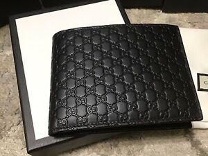 GUCCI MENS WALLET BLACK WITH ID SLOT WINDOW