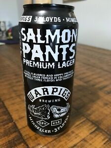 Warpigs Brewing 16oz Salmon Pants Premium Lager Painted black label Mikkeller