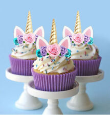 🌟 24 STAND UP MINI FLOWERS ROSE UNICORN EDIBLE CUPCAKE CUP CAKE IMAGES TOPPERS