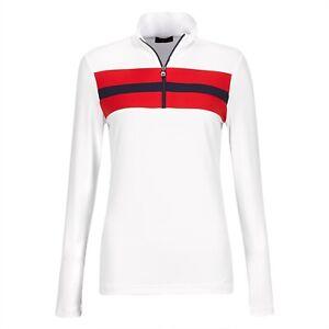 NWT Golfino Ladies Retro Sport Troyer White Golf 1/4 Zip 4339722 100 pick size
