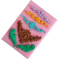 Vintage Relief Baroque Silicone Fondant Mould Cake Border Decor Sugar Paste Mold
