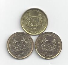 3 DIFFERENT 5 CENT COINS from SINGAPORE (2010, 2011 & 2013)