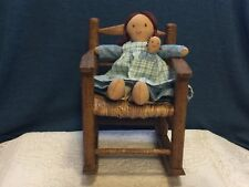 Country Doll in Handcrafted Dress and Apron and Wooden Rocking Chair