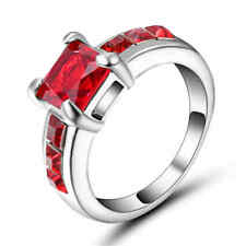Size 8 Square Red Zircon Ring Women's white Rhodium Plated Wedding Rings