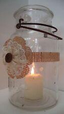 10 Ivory Lace Burlap Mason Jar Wedding Rustic Candle Centerpiece Wraps FE8