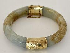 STUNNING! Carved Hinged Multi Color Jade 585/14K CKG Bangle Bracelet 57.6g