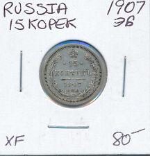 RUSSIA 15 KOPEK 1907 - XF