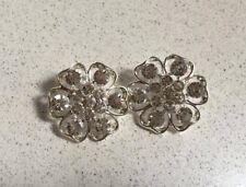 1 Pair Silver Diamonte/Crystal Flower Centrepieces - DIY Browbands 25mm