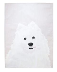 Samoyed Dog Print Cotton Tea Towel. Dog Lover Gift