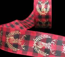 "5 Yds Christmas Lodge Log Cabin Red Black Plaid Reindeer Wired Ribbon 2 1/2""W"