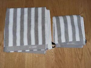 MARIMEKKO Kaksi Raitaa Bath Towel + Hand Towel Set In White/Gray Color