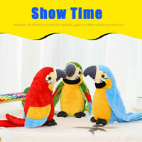 1x Funny Speak Talking Record Repeats Waving Wings Cute Parrot Stuffed Plush Toy