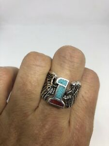 Vintage Silver White Bronze Southwestern Inlay Number 1 Wings 10 Men's Ring