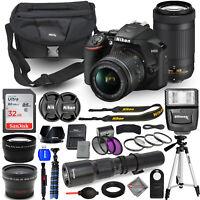 Nikon D3500 DSLR Camera + 18-55mm + 70-300mm + 500mm 4 Lens Flash 32GB Bundle