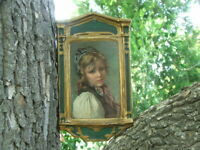 """Fine WALL PLAQUE, Painting of a Young Peasant Girl,  """"Elizabeth Seefor"""""""