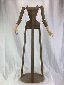 Madonna Manichino Gabbia Stile '600 Vintage Wood Statua Santa 55 Cm Dummy