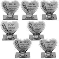 Feather Design Memorial Glass Heart Tea Light Plaque - Choose Design