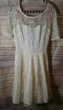 Betsey Johnson Ivory Metallic Lace Open Back Party Dress 3/4 Sleeve Size 6