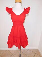 Adorable Shumaq By Vanessa Barrantes Red Ruffle Dress - New - Rt $149 - Sz XS