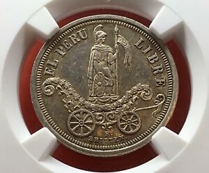 🔥UNCIRCULATED🔥SILVER MEDAL INDEPENDENCE PROCLAMATION 1863 LIMA (PERÚ) MS61!!