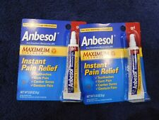 (2) Anbesol Gel Maximum Strength 0.33 oz Instant Pain Relief New