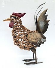 More details for unusual twisted sea grass & antique gold metal chicken farm yard cockerel 48cm