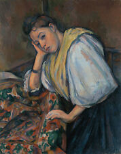 Young Italian Woman at a Table Paul Cezanne Italienerin Tisch Tücher B A3 02976