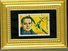 WW 2 ACE RAF SIR DOUGLAS BADER & AIRCRAFT A GLASS FRAMED POSTAGE MASTERPIECE