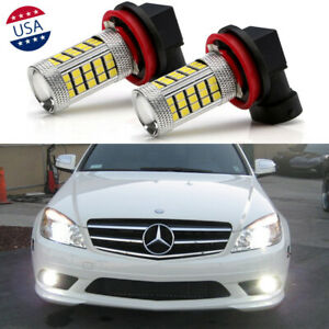 2x 66-SMD Super White LED Fog Light Bulbs for Mercedes-Benz C300 2008 2009 2010