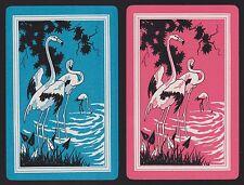 2 Single VINTAGE Swap/Playing Cards BIRDS FLAMINGOS ID 'FLAMINGO BI-8-29'