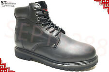 "Men's 6"" Work Boots Shoes With Steel Toe Leather Upper A6011ST + Free Socks"