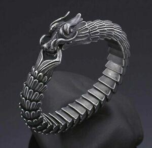 MENS DESIGNER BRACELETS 3D VIKINGS DRAGON FOR MEN GOTHIC SILVER GREY 316L UK NEW