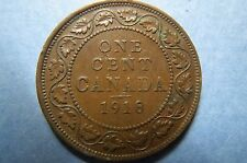 1918  Vintage CANADA KING GEORGE V ONE CENT LARGE BRONZE COIN, Fine Circulated