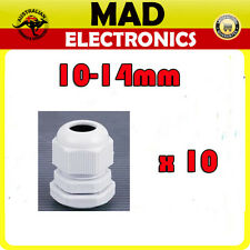 10 x Cable Glands IP68 PG16 10mm -14mm White/Grey