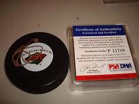 Devin Setoguchi Signed Minnesota Wild Hockey Puck PSA/DNA Autographed a