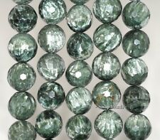 """12MM RUSSIAN SERAPHINITE GEMSTONE AA GREEN FACETED ROUND LOOSE BEADS 7.5"""""""