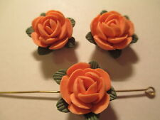10  Porcelain Orange Rose Color  16 mm Flower Beads     LF5