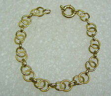 14K YELLOW GOLD 7 INCH INTERLOCKING CHAIN BRACELET PUSH LOCK CLASP N138-X