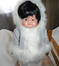 Alaska Eskimo Porcelain Doll Coth With Stand
