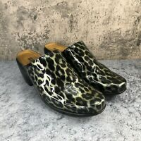 Naot Dream Women's Patent Leather Leopard Print Block Heel Mules Size 40 US 9