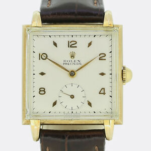 Rolex Gold Watch - 1930s 14ct Yellow Gold Rolex Unisex Square Manual Wristwatch