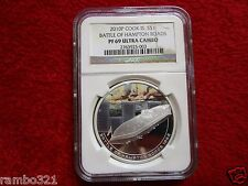 2010 Cook Island is. Battle of Hampton Roads NGC PF69 UltraCameo 1oz Silver Coin