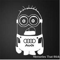 AUDI MINION Funny Car Window Bumper JDM EURO Novelty Vinyl Decal Sticker