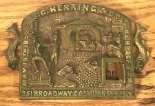 Silas S.C. Herring & Co. Fireproof Safe Plaque Sign Plate New York NY 1852 Fish