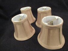 4 small chandelier silk clip on shades beige with shimmer of gold